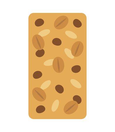 Granola bar with chocolate, flat style vector illustration. Ilustracja