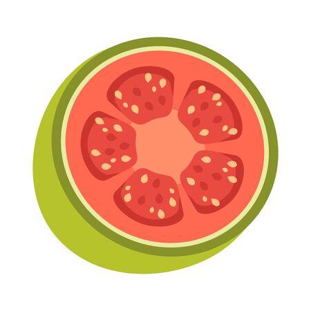 Tasty guava fruit on white background, vector illustration. Ilustracja