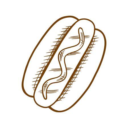 Tasty hot dog  illustration. Çizim