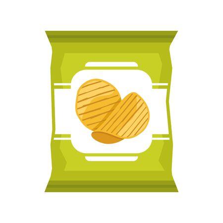 Potato chips bag on white background, vector illustration. Ilustracja