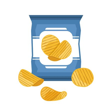 Bag of potato chips isolated on white background. Ilustracja