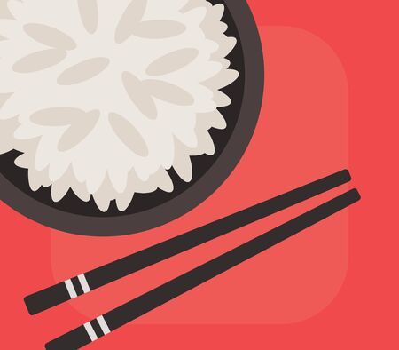 Bowl of rice and chopsticks on red background, vector illustration