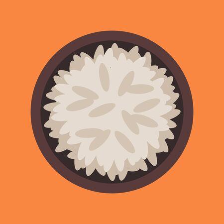 Bowl of rice on orange background, vector illustration. Ilustracja