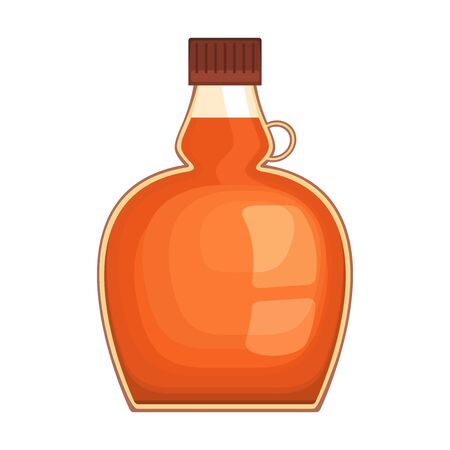 Maple syrup bottle on white background, vector illustration.