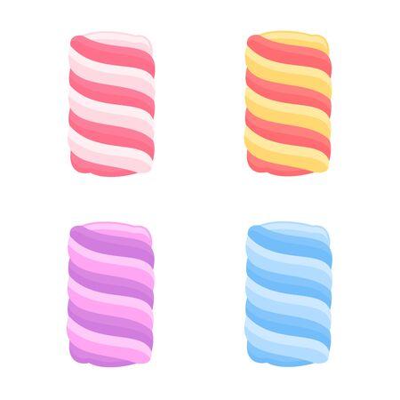 Sweet marshmallows collection, vector illustration. Ilustracja