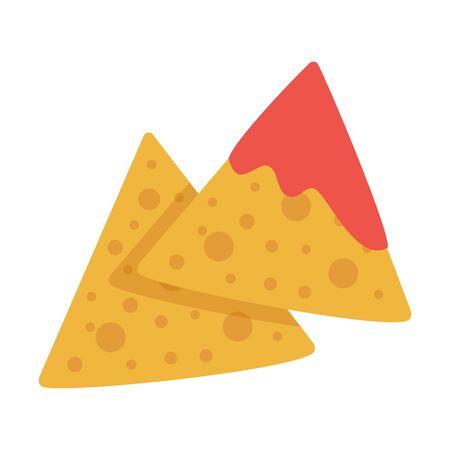 Tasty nachos with sauce isolated on white background, vector illustration. Векторная Иллюстрация