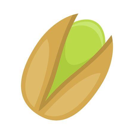 Pistachio nut isolated on white background, flat style vector illustration. Ilustracja