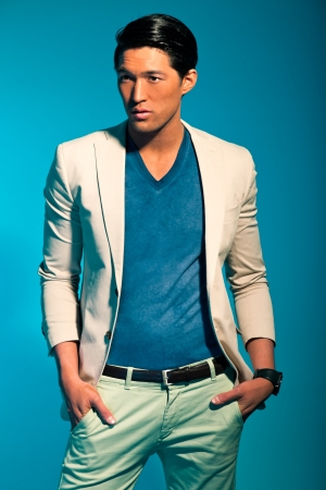 Handsome asian man in suit  Summer fashion  Studio shot  photo