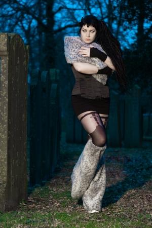 Gothic girl on cemetery  photo