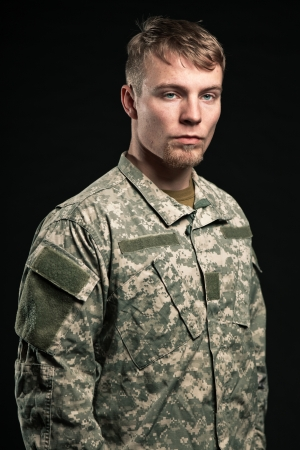 Military young man. Studio portrait. Stock Photo