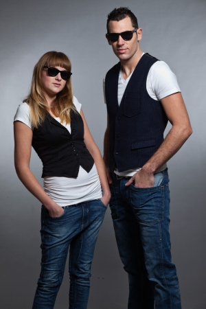 Young couple man and woman in love  Sunglasses  photo