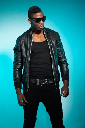 Cool urban stylish black american man. Fashion studio shot. Stock Photo - 17847995