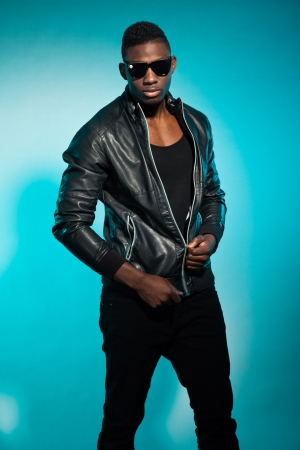 Cool urban stylish black american man. Fashion studio shot. Stock Photo - 17847989