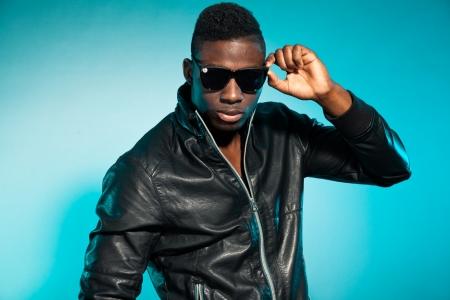 Cool urban stylish black american man. Fashion studio shot. Stock Photo - 17847984