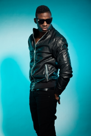 Cool urban stylish black american man. Fashion studio shot. Stock Photo - 17847991