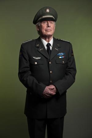 Military general in uniform. Studio portrait.