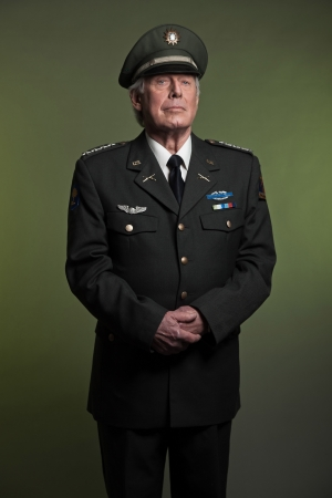 Military general in uniform. Studio portrait. photo