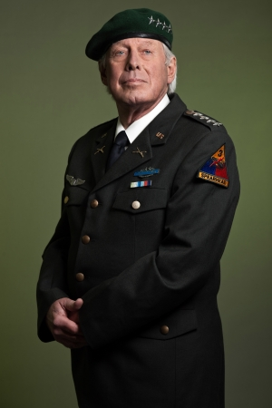 military uniform: US military general wearing beret. Studio portrait. Stock Photo