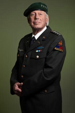 military uniform: US military general wearing beret. Studio portrait. Stock Photo