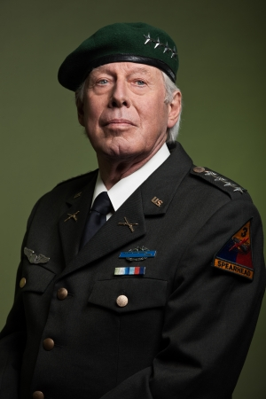 US military general wearing beret. Studio portrait. photo