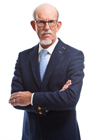 Serious well dressed senior business man with glasses  Isolated   photo