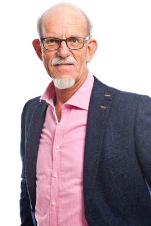 Happy well dressed senior man with glasses. Isolated. photo