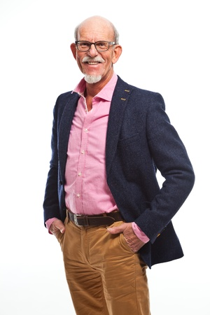 old black man: Happy well dressed senior man with glasses  Isolated  Stock Photo
