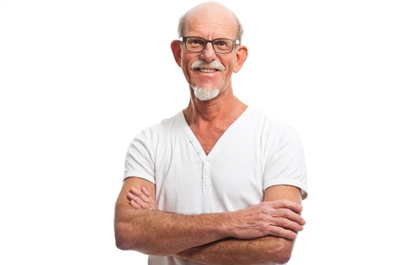 Casual dressed senior man with glasses. Isolated. photo