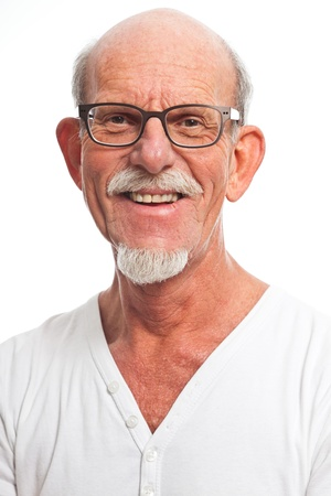 Casual dressed senior man with glasses. Isolated. Stock Photo