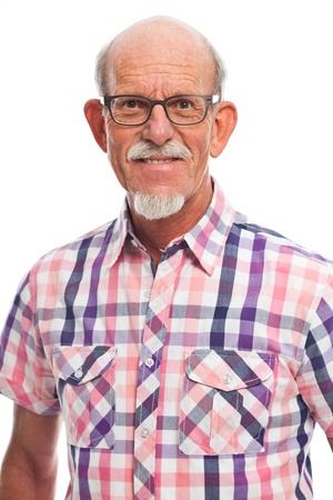 old black man: Casual dressed senior man with glasses. Isolated. Stock Photo