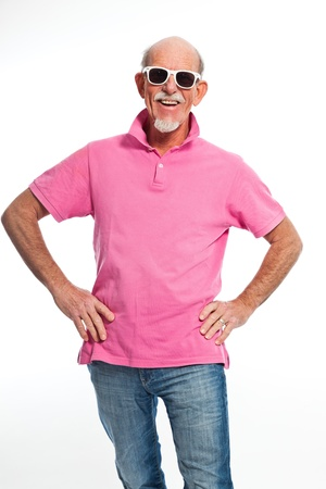 Funny expressive senior man with sunglasses. Isolated. photo