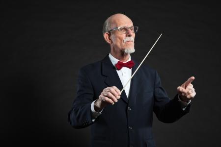 Senior conductor wearing suit. Studio shot. Stock Photo - 19001928