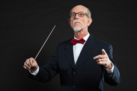 Senior conductor wearing suit. Studio shot. Stock Photo - 19001926