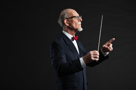 Senior conductor wearing suit. Studio shot.  Stock Photo - 19001894
