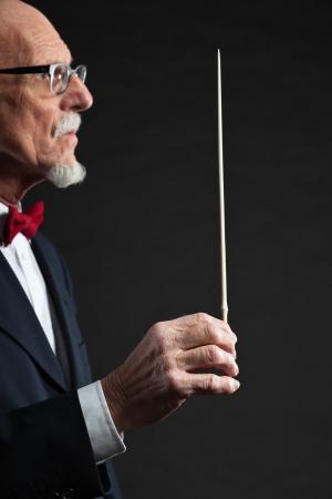 Senior conductor wearing suit. Studio shot.  Stock Photo - 19001933