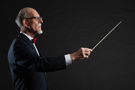 Senior conductor wearing suit. Studio shot. Stock Photo - 19001943