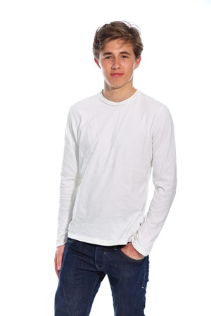 young man jeans: Young smiling casual man wearing white shirt and blue jeans isolated on white.
