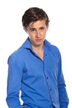 Young business man wearing blue shirt. Isolated on white. photo