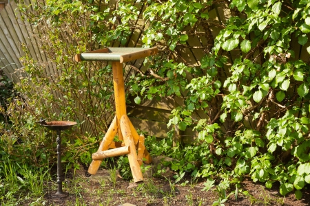 Wooden bird feeding table in garden in spring time. photo