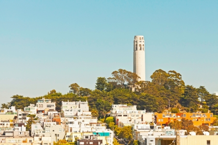 coit: Telegraph hill with Coit tower in San Francisco. Blue sky. Stock Photo