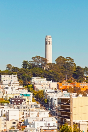 telegraph hill: Telegraph hill with Coit tower in San Francisco. Blue sky. Stock Photo
