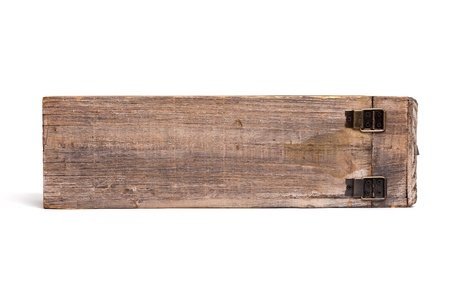 Single old wooden wine box for one bottle isolated on white. Side view. photo