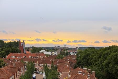Nederlandse woonwijk met groene bomen en bewolkte hemel bij zonsondergang Stad Haarlem Noord-Holland Nederland