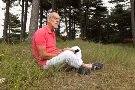 Senior retired man sitting with tablet outdoors in meadow. Scottish highlander cows in background. photo