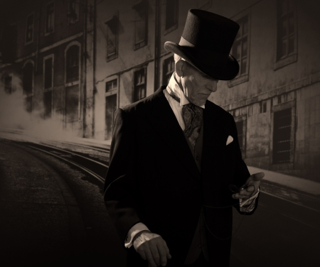 Man 1900 style wearing black hat and coat. Medicine man in Dickens style in night city street. Holding a pocket watch.