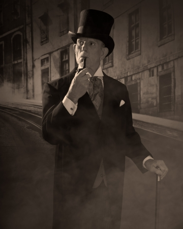 Man 1900 style smoking a pipe wearing black hat and coat. Dickens style in night city street.