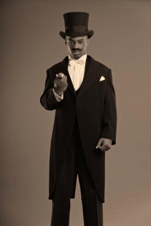 scrooge: Retro afro american dickens scrooge man with mustache  Wearing black hat