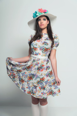 Retro 70s Fashion Pretty Brunette Girl With Long Hair Wearing