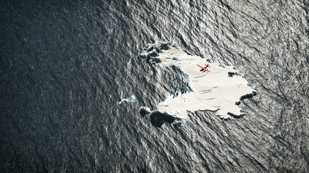 Aerial of red airplane flying over melting iceberg in ocean. photo