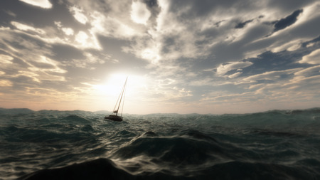 Lost sailing boat in wild stormy ocean. Cloudy sky. Stock Photo